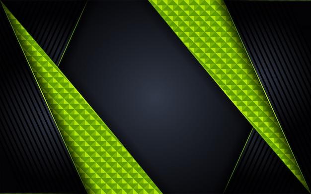 Fondo oscuro de lujo abstracto con combinaciones de líneas verdes