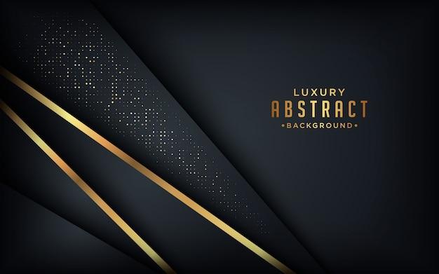 Fondo oscuro de lujo abstracto con líneas doradas y combinaciones de puntos dorados.