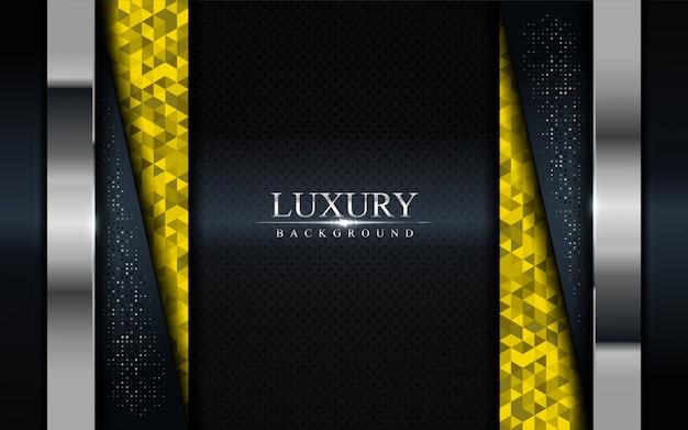 Fondo oscuro de lujo con mosaico amarillo y líneas plateadas