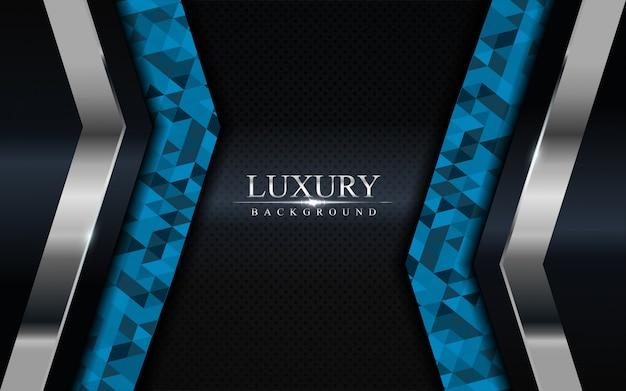 Fondo oscuro de lujo con mosaico azul y líneas plateadas