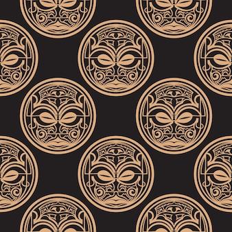 Fondo oscuro con máscaras de las tribus polinesias. ilustración vectorial.