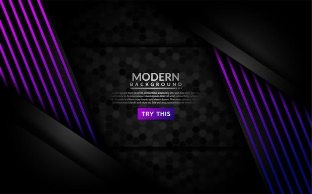 Fondo oscuro moderno con líneas púrpuras brillantes.