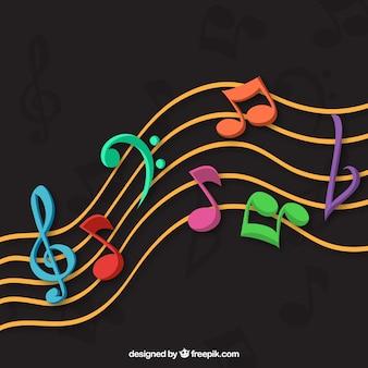 Fondo oscuro con notas musicales coloridas