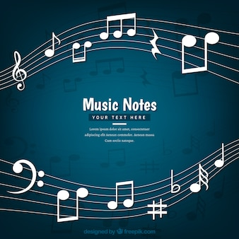 Fondo oscuro de pentagrama con notas musicales