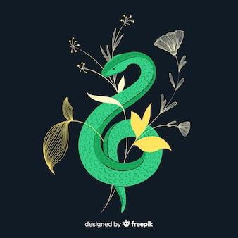 Fondo oscuro serpiente con flores dibujada a mano