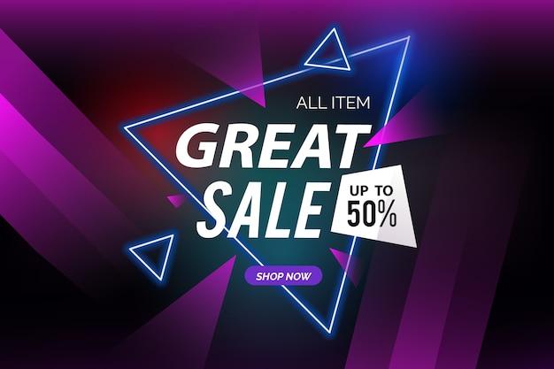 Fondo oscuro de ventas y formas poligonales