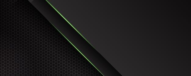 Fondo oscuro y verde abstracto moderno con luz de línea y efecto brillante