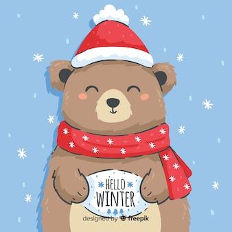 Fondo oso dibujado a mano oso sosteniendo cartel