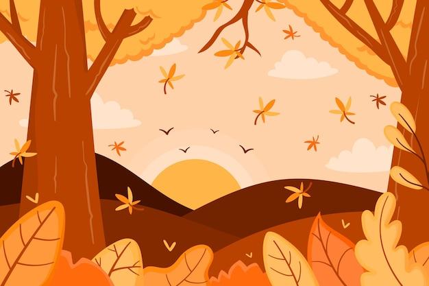 Fondo otoñal con bosque y árboles