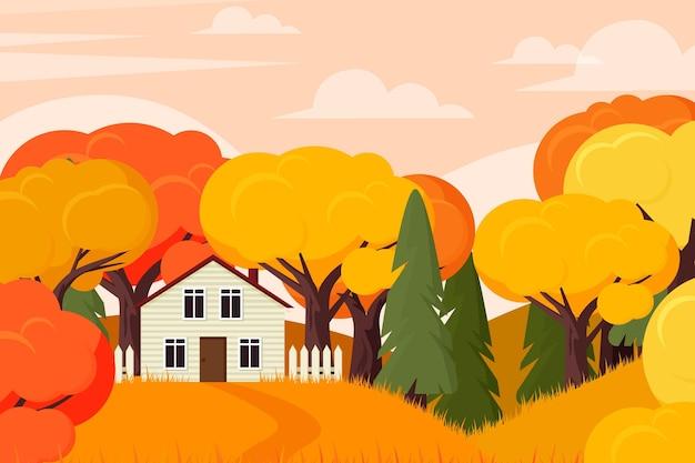Fondo otoñal con casa y árboles
