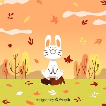 Fondo otoñal dibujado con conejo