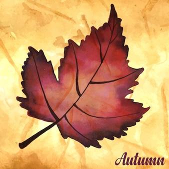 Fondo de otoño con acuarela hojas de naranja, amarillo y verde