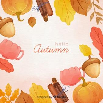 Fondo de otoño en acuarela con hojas