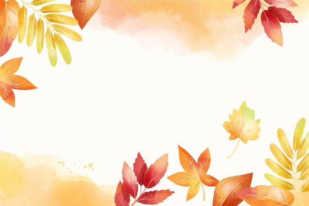 Fondo otoño acuarela con hojas