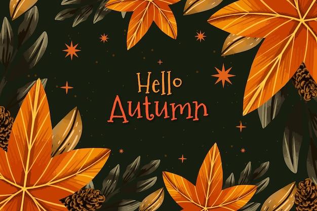Fondo de otoño acuarela con hojas