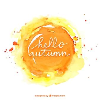 Fondo de otoño en acuarela