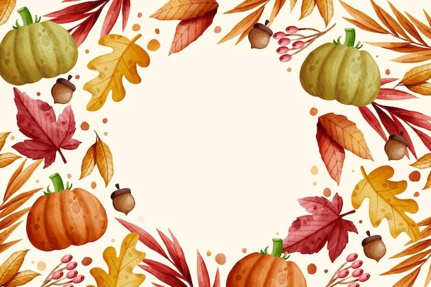 Fondo de otoño acuarela