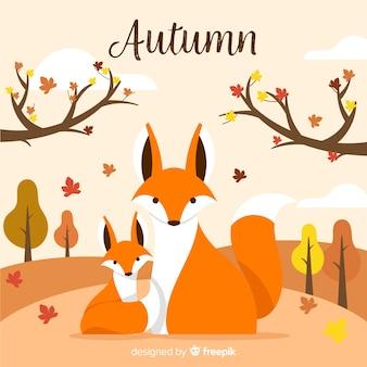 Fondo de otoño con animales en diseño plano