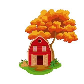 Fondo de otoño con árboles amarillos y campo de granja