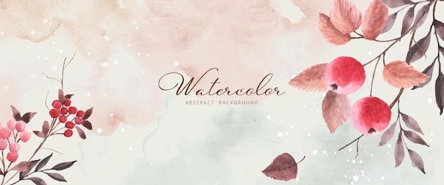 Fondo de otoño de arte abstracto con bayas de serbal acuarela. arte natural pintado a mano en acuarela perfecto para diseño decorativo en el festival de otoño, encabezado, banner, web, decoración de paredes, tarjetas.