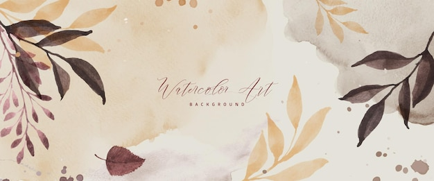 Fondo de otoño de arte abstracto con hojas de acuarela. arte natural pintado a mano en acuarela perfecto para diseño decorativo en el festival de otoño, encabezado, banner, web, decoración de paredes, tarjetas.