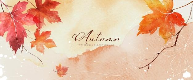 Fondo de otoño de arte abstracto con hojas de arce acuarela. arte natural pintado a mano en acuarela perfecto para diseño decorativo en el festival de otoño, encabezado, banner, web, decoración de paredes, tarjetas.