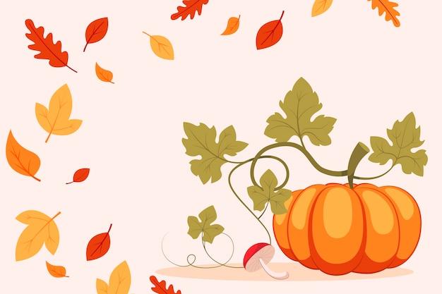 Fondo de otoño con calabaza