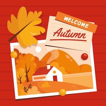Fondo de otoño con casa y lago