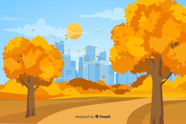 Fondo de otoño co hojas en diseño plano
