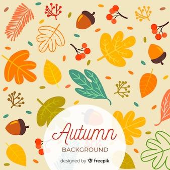 Fondo de otoño colorido con hojas