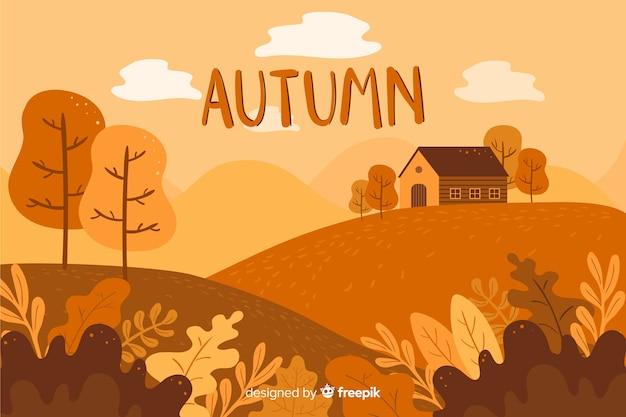 Fondo de otoño dibujado a mano estilo