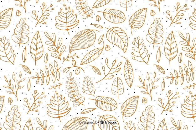 Fondo de otoño dibujado a mano con hojas