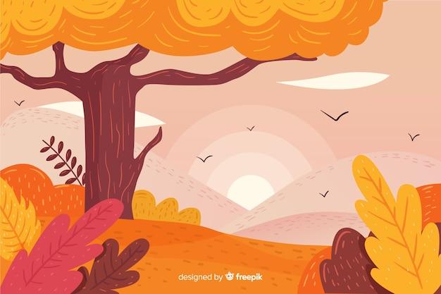 Fondo de otoño dibujado a mano con paisaje