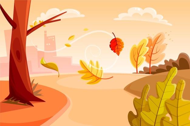 Fondo de otoño dibujado a mano