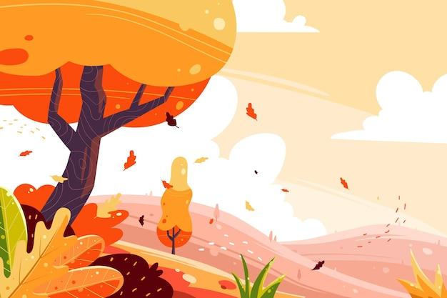 Fondo otoño dibujado a mano