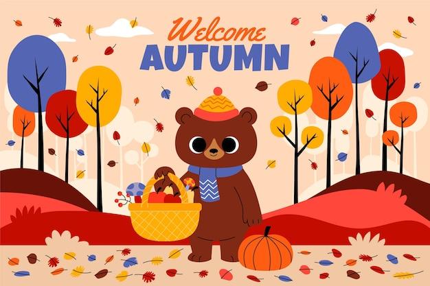 Fondo de otoño de dibujos animados