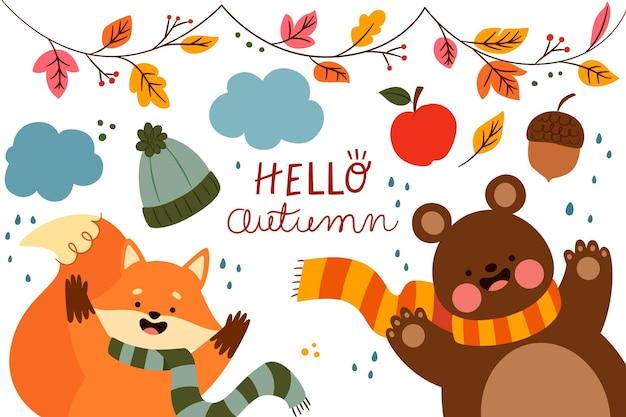 Fondo de otoño en diseño plano