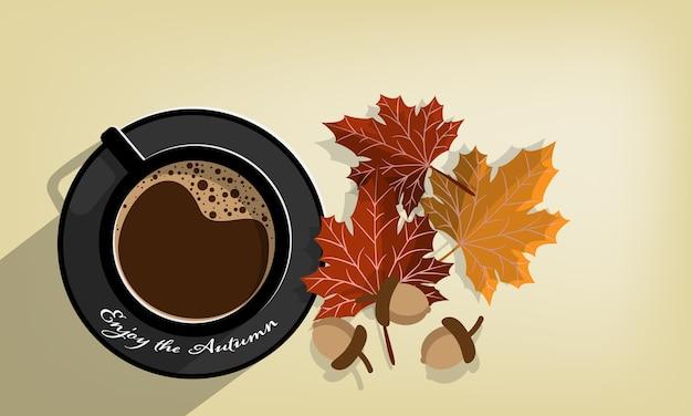 Fondo de otoño con disfrutar del texto de otoño.