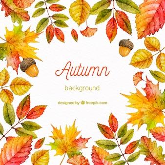 Fondo de otoño en estilo acuarela