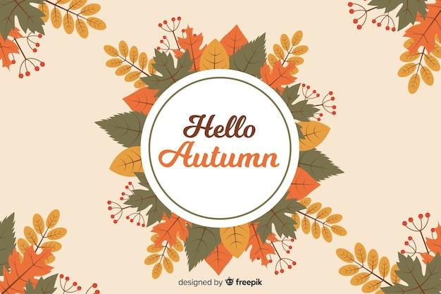 Fondo de otoño en estilo plano