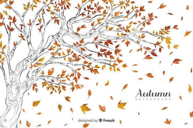 Fondo de otoño con hojas en acuarela