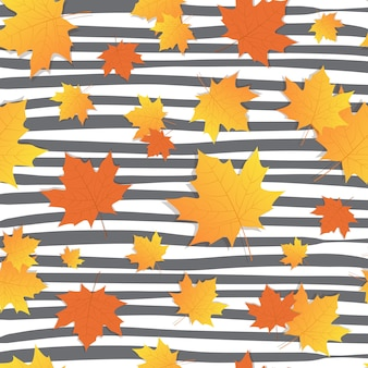 Fondo otoño con hojas arce amarillas temporada otoño