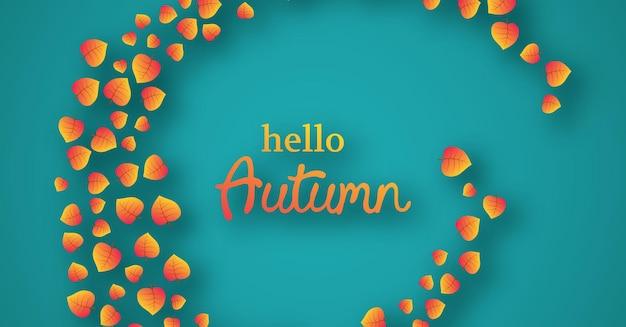 Fondo de otoño con hojas de arce amarillo y lugar para el texto. diseño de banner para banner o cartel de temporada de otoño. ilustración vectorial