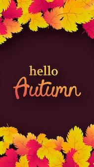 Fondo de otoño con hojas de arce amarillo y lugar para el texto. diseño de banner de historias para banner o cartel de temporada de otoño. ilustración vectorial