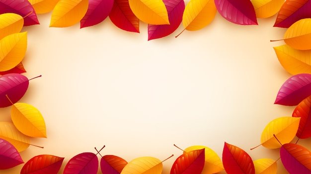 Fondo de otoño con hojas de colores otoñales