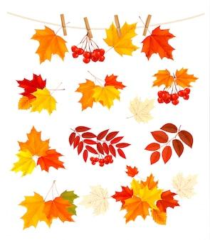 Fondo de otoño con hojas de colores.