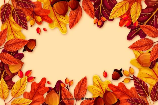 Fondo de otoño con hojas en diseño plano