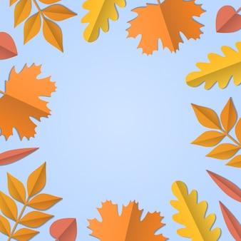 Fondo de otoño, hojas de papel de árbol, telón de fondo azul claro