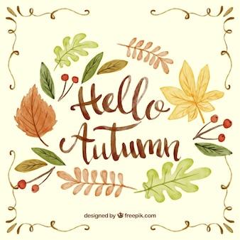 Fondo de otoño con letras de acuarela