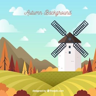 Fondo de otoño con molino y paisaje